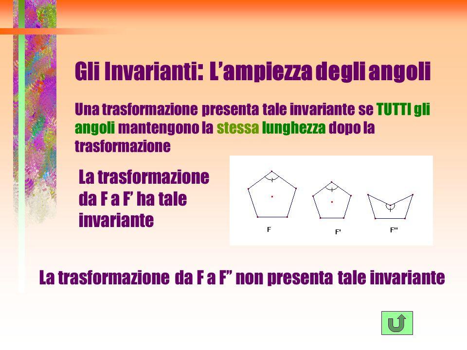Gli Invarianti : Lampiezza degli angoli Una trasformazione presenta tale invariante se TUTTI gli angoli mantengono la stessa lunghezza dopo la trasfor
