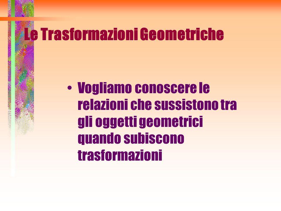 Vogliamo conoscere le relazioni che sussistono tra gli oggetti geometrici quando subiscono trasformazioni Le Trasformazioni Geometriche