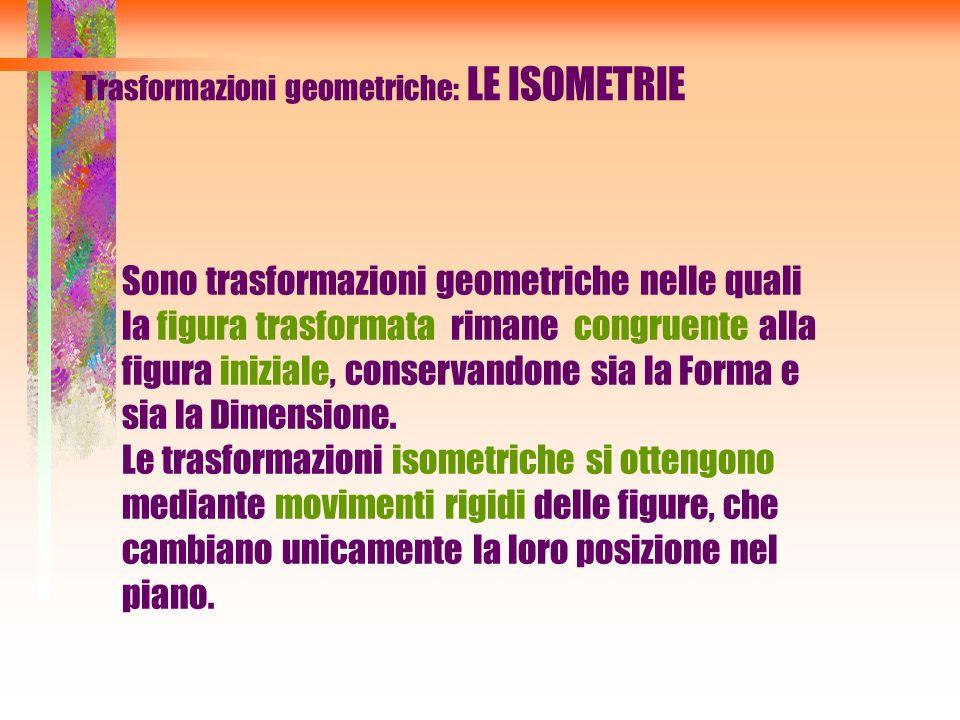 Trasformazioni geometriche: LE ISOMETRIE Sono trasformazioni geometriche nelle quali la figura trasformata rimane congruente alla figura iniziale, con