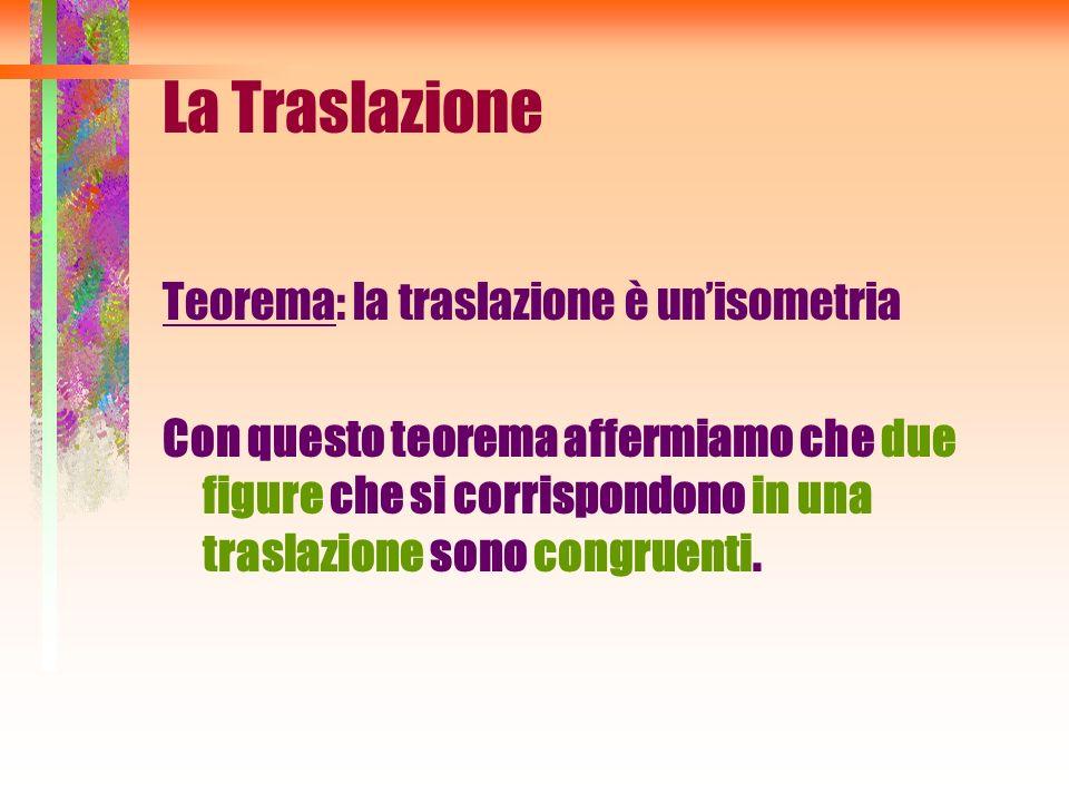 La Traslazione Teorema: la traslazione è unisometria Con questo teorema affermiamo che due figure che si corrispondono in una traslazione sono congrue