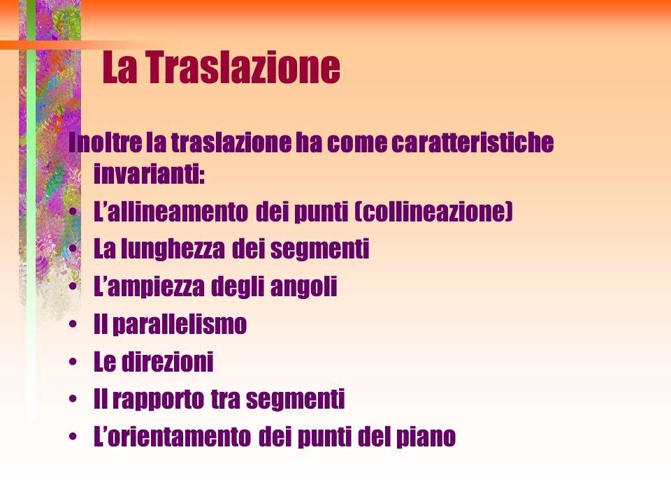 La Traslazione Inoltre la traslazione ha come caratteristiche invarianti: Lallineamento dei punti (collineazione) La lunghezza dei segmenti Lampiezza