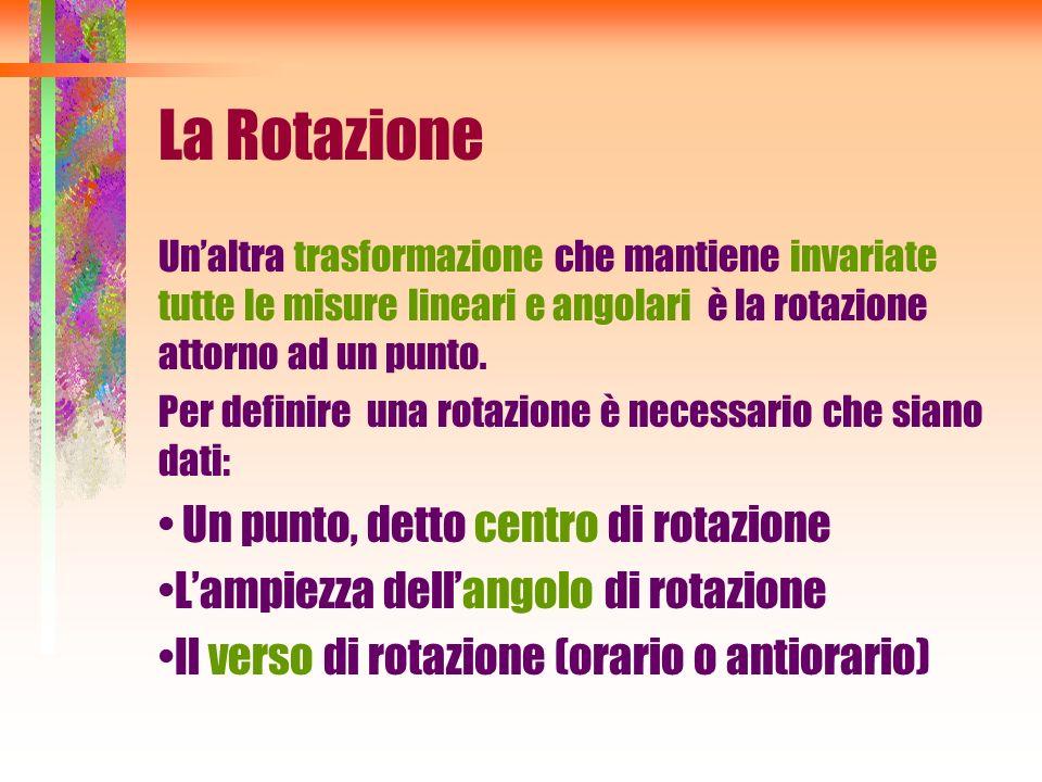 La Rotazione Unaltra trasformazione che mantiene invariate tutte le misure lineari e angolari è la rotazione attorno ad un punto. Per definire una rot