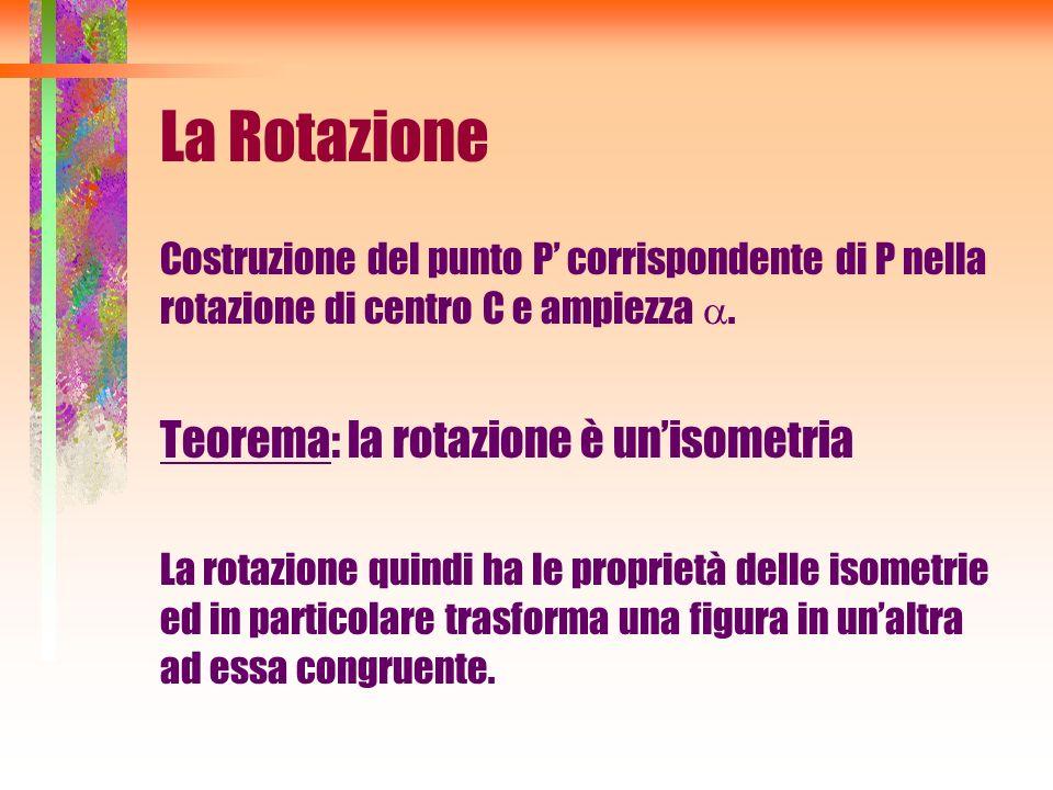 La Rotazione Costruzione del punto P corrispondente di P nella rotazione di centro C e ampiezza. Teorema: la rotazione è unisometria La rotazione quin