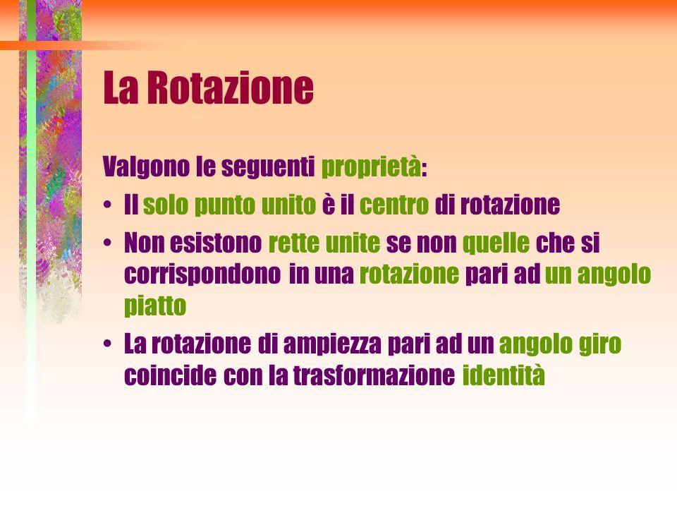 La Rotazione Valgono le seguenti proprietà: Il solo punto unito è il centro di rotazione Non esistono rette unite se non quelle che si corrispondono i