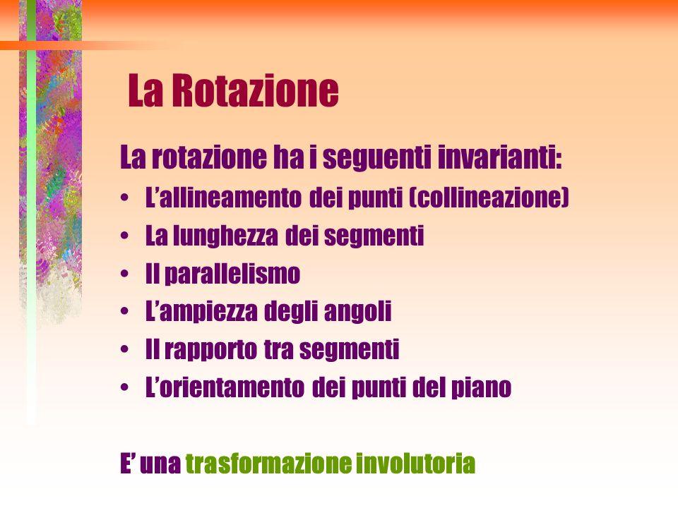 La Rotazione La rotazione ha i seguenti invarianti: Lallineamento dei punti (collineazione) La lunghezza dei segmenti Il parallelismo Lampiezza degli