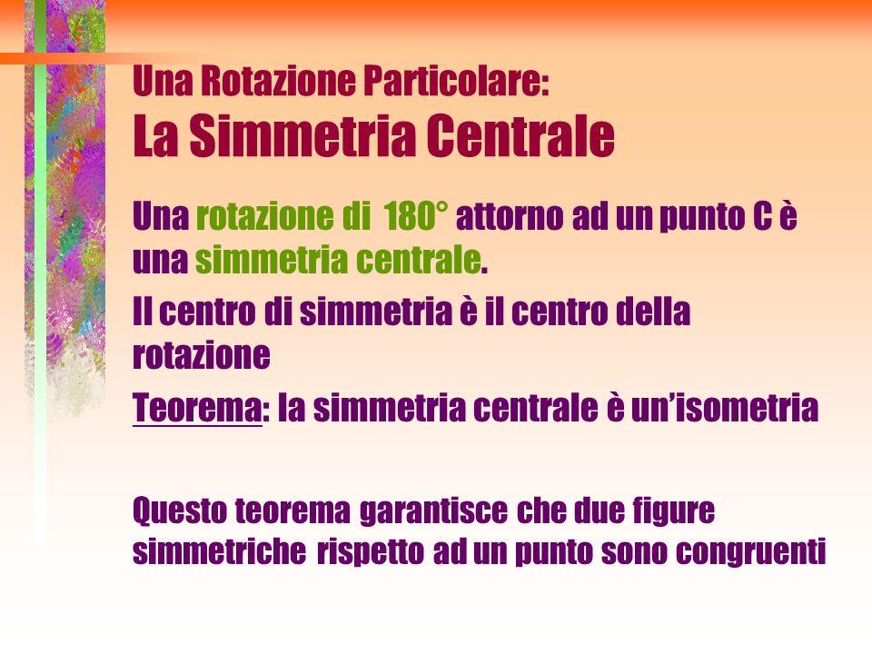 Una Rotazione Particolare: La Simmetria Centrale Una rotazione di 180° attorno ad un punto C è una simmetria centrale. Il centro di simmetria è il cen