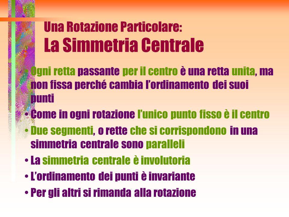 Una Rotazione Particolare: La Simmetria Centrale Ogni retta passante per il centro è una retta unita, ma non fissa perché cambia lordinamento dei suoi
