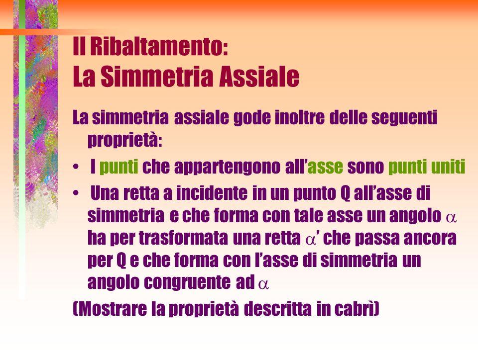 La simmetria assiale gode inoltre delle seguenti proprietà: I punti che appartengono allasse sono punti uniti Una retta a incidente in un punto Q alla