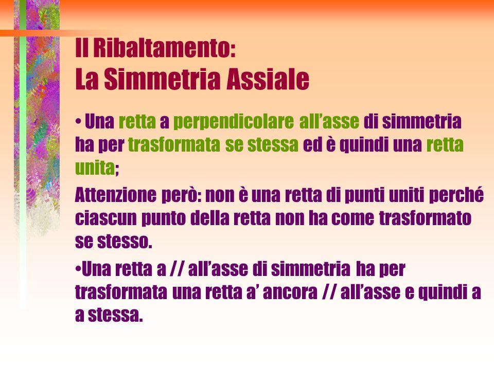 Una retta a perpendicolare allasse di simmetria ha per trasformata se stessa ed è quindi una retta unita; Attenzione però: non è una retta di punti un