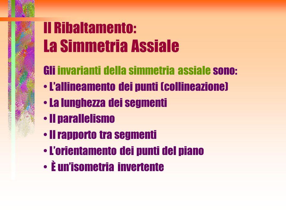 Gli invarianti della simmetria assiale sono: Lallineamento dei punti (collineazione) La lunghezza dei segmenti Il parallelismo Il rapporto tra segment