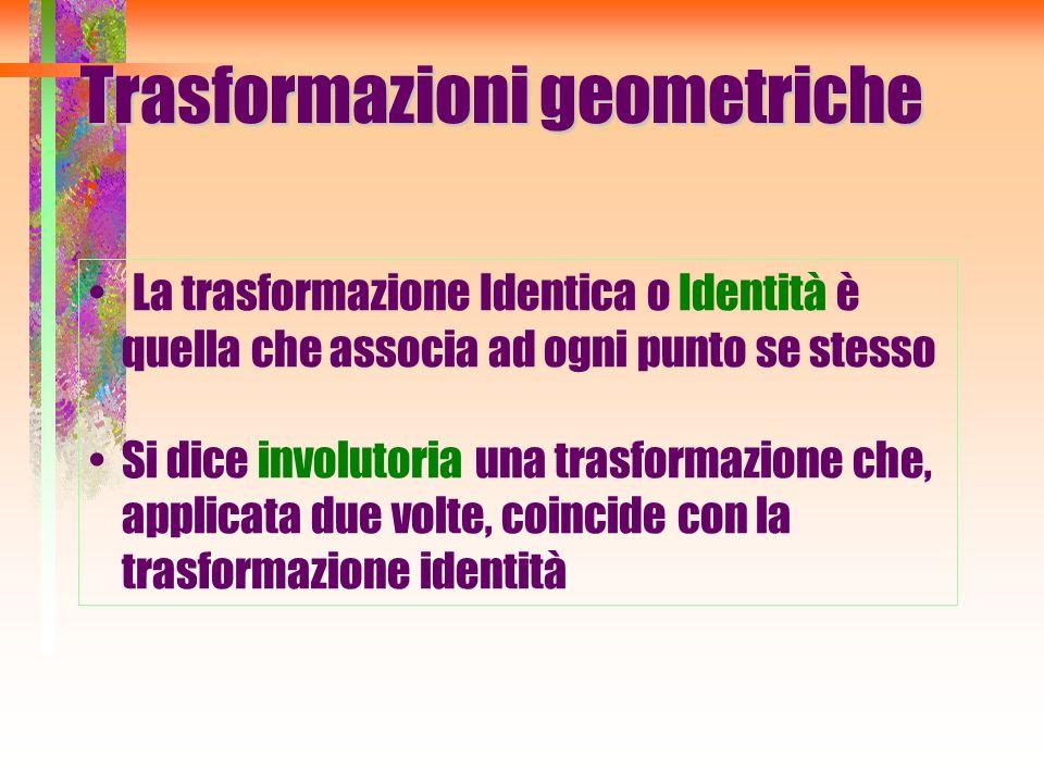 Trasformazioni geometriche La trasformazione Identica o Identità è quella che associa ad ogni punto se stesso Si dice involutoria una trasformazione c