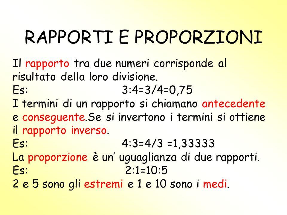 PROPRIETA DELLE PROPORZIONI Invertire 2:1=6:3 Permutare medi Permutare estremi Permutare medi ed estremi 6:3=2:1 3:6=1:2 Proporzione 1:2=3:6 1:3=2:6 3:1=6:2 6:2=3:12:6=1:3