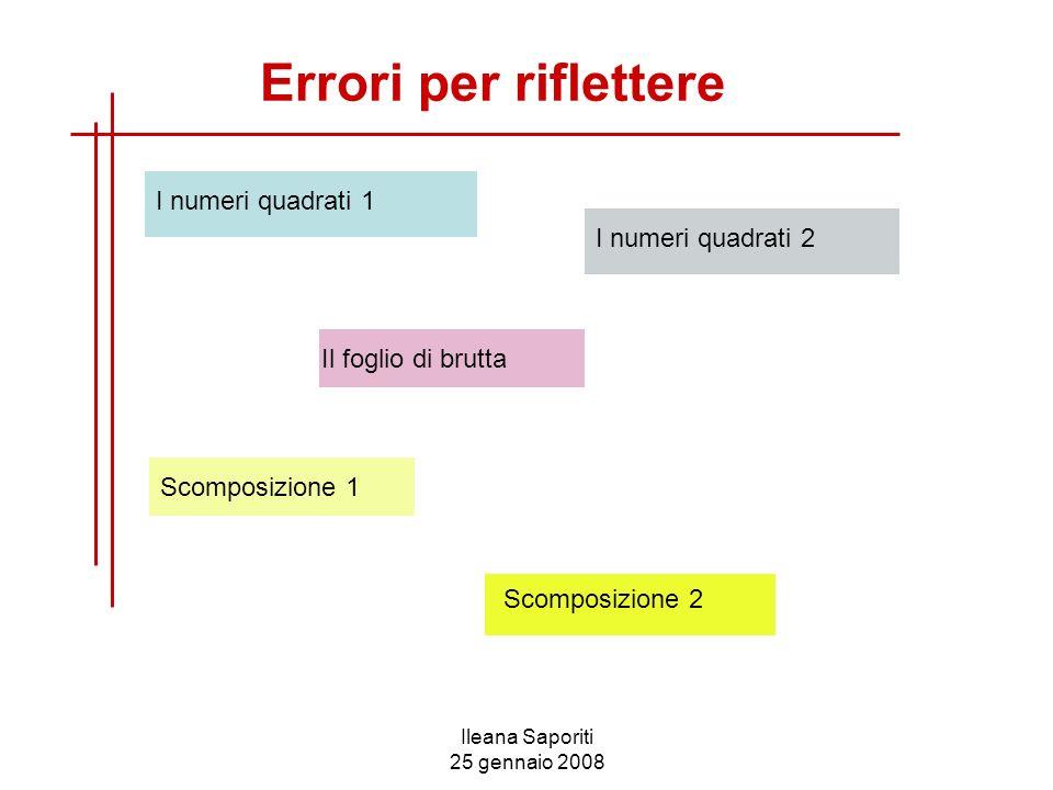 Ileana Saporiti 25 gennaio 2008 Errori per riflettere I numeri quadrati 2 Scomposizione 2 Il foglio di brutta Scomposizione 1 I numeri quadrati 1