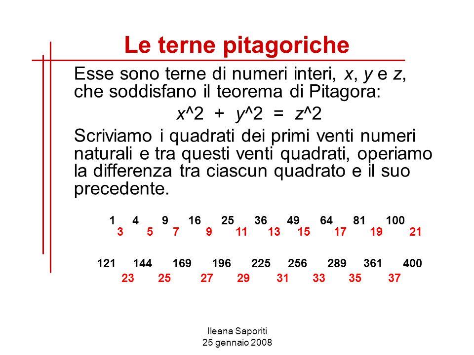 Le terne pitagoriche Esse sono terne di numeri interi, x, y e z, che soddisfano il teorema di Pitagora: x^2 + y^2 = z^2 Scriviamo i quadrati dei primi