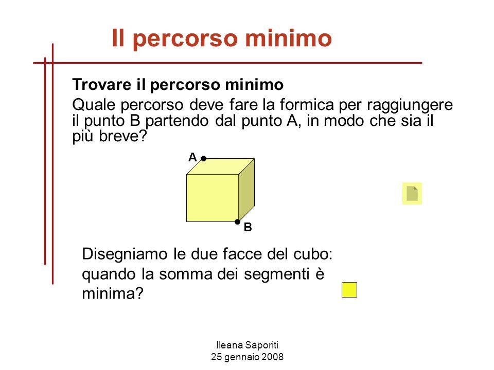 Ileana Saporiti 25 gennaio 2008 Il percorso minimo Trovare il percorso minimo Quale percorso deve fare la formica per raggiungere il punto B partendo