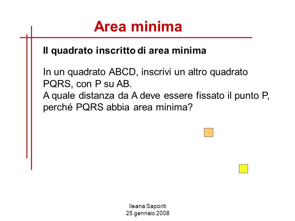 Ileana Saporiti 25 gennaio 2008 Area minima Il quadrato inscritto di area minima In un quadrato ABCD, inscrivi un altro quadrato PQRS, con P su AB. A