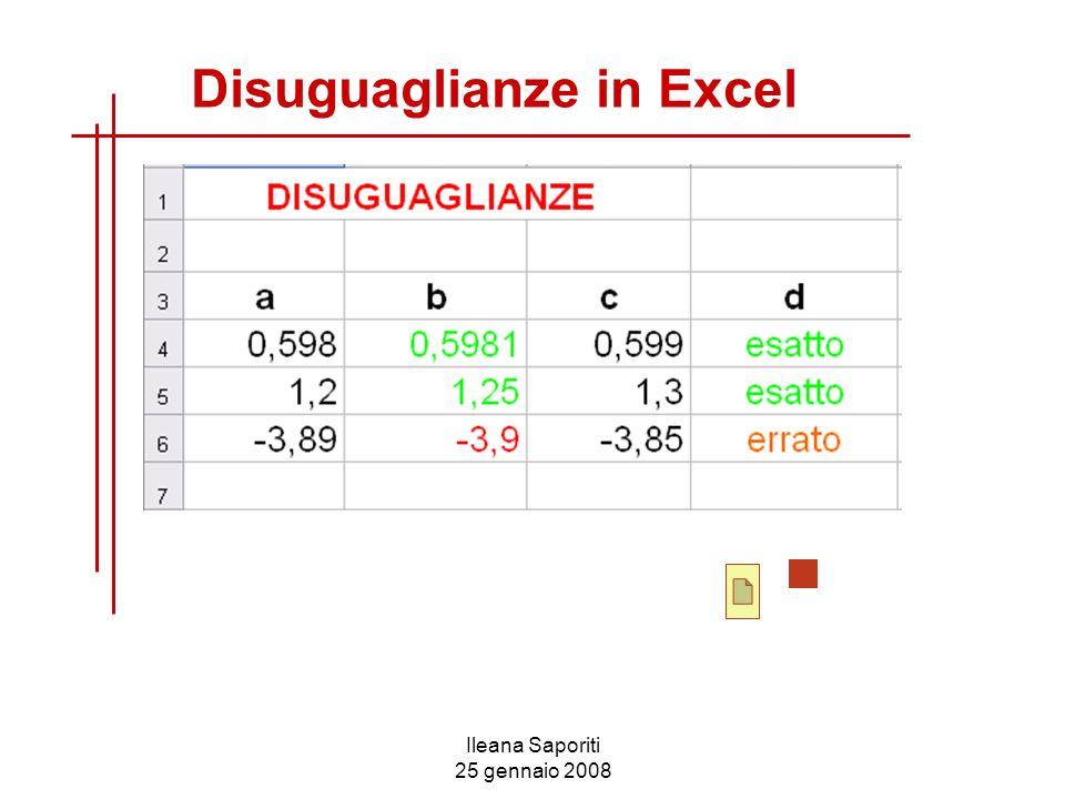 Ileana Saporiti 25 gennaio 2008 Disuguaglianze in Excel