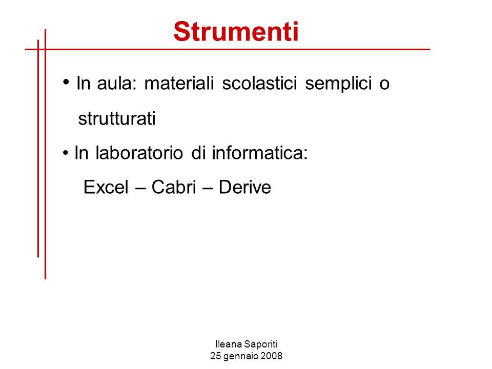 Ileana Saporiti 25 gennaio 2008 In aula: materiali scolastici semplici o strutturati In laboratorio di informatica: Excel – Cabri – Derive Strumenti