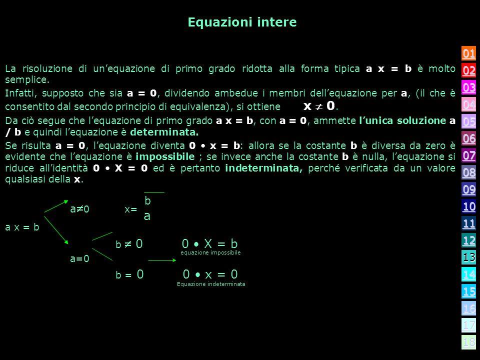 Conseguenza dei principio di equivalenza I due principi consentono di scrivere lequazione in una forma equivalente, più semplice, con le stesse soluzi