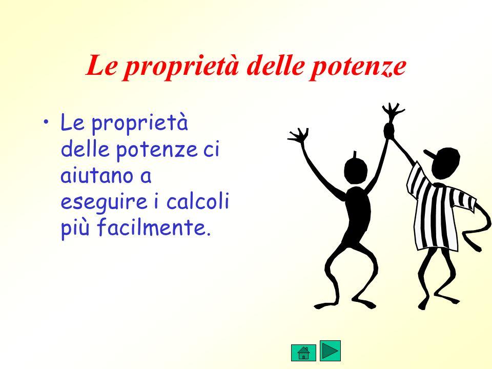Le proprietà delle potenze Le proprietà delle potenze ci aiutano a eseguire i calcoli più facilmente.