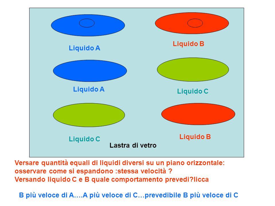 A B Due tavolette uguali poste su liquidi uguali e sollecitate da forze diverse si spostano con diversa velocità in funzione della diversa forza applicata aumentando la forza aumenta anche la velocità