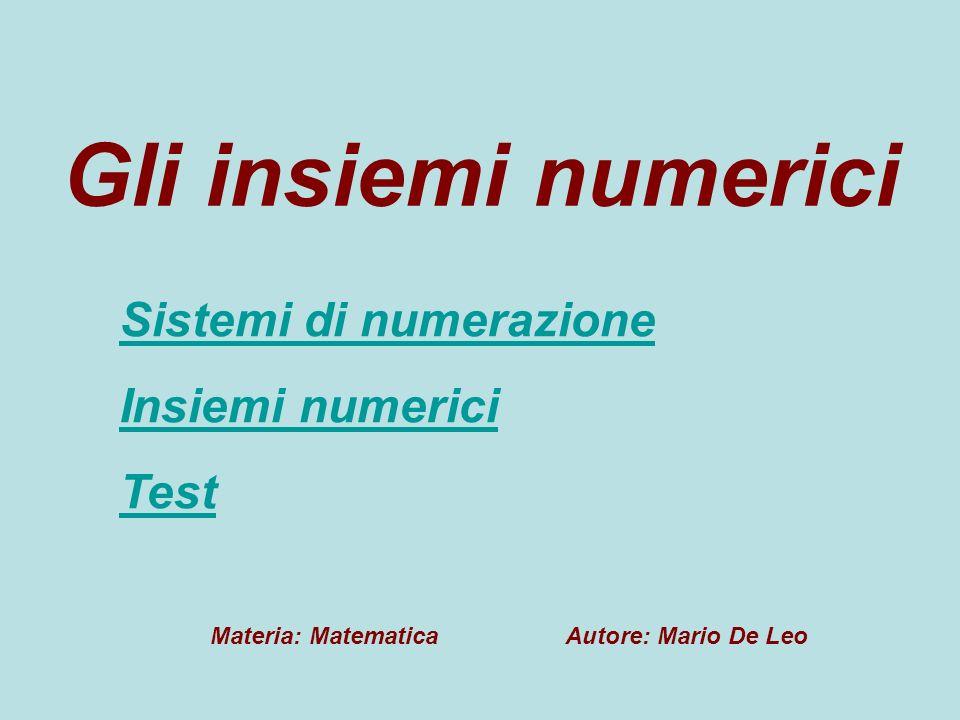 Gli insiemi numerici Sistemi di numerazione Insiemi numerici Test Materia: Matematica Autore: Mario De Leo