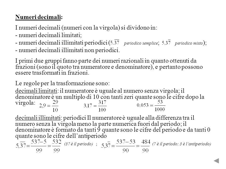 Numeri decimali: I numeri decimali (numeri con la virgola) si dividono in: - numeri decimali limitati; - numeri decimali illimitati periodici ( periodico semplice ; periodico misto ); - numeri decimali illimitati non periodici.