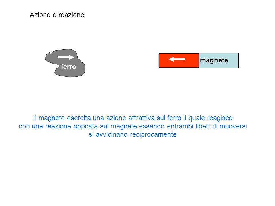 Azione e reazione ferro magnete Il magnete esercita una azione attrattiva sul ferro il quale reagisce con una reazione opposta sul magnete:essendo ent
