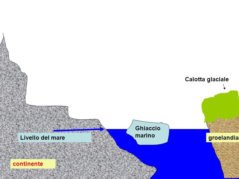 continente groelandia Calotta glaciale Ghiaccio marino Livello del mare Fusione del ghiaccio marino:come cambia il livello del mare?aumenta,diminuisce,rimane invariato?rispondi e poi clicca Il livello rimane invariato perché lacqua derivata dal ghiaccio immerso che fonde occupa il volume precedentemente occupato dal ghiaccio:anzi occupa un volume leggemente minore(densità maggiore del ghiaccio):ma la parte emerse del ghiaccio che fonde fornisce acqua per pareggiare il volume:quindi il livello non cambia
