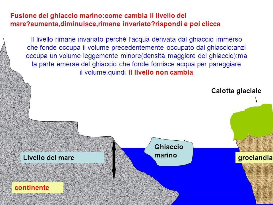 continente groelandia Calotta glaciale Ghiaccio marino Livello del mare Fusione del ghiaccio marino:come cambia il livello del mare?aumenta,diminuisce