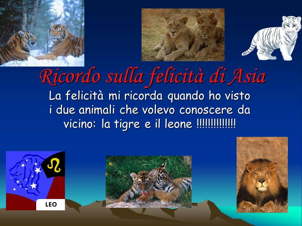 Ricordo sulla felicità di Asia La felicità mi ricorda quando ho visto i due animali che volevo conoscere da vicino: la tigre e il leone !!!!!!!!!!!!!!