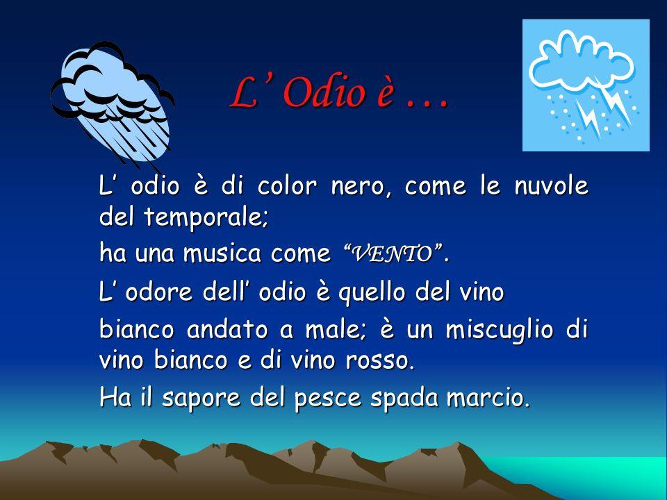 L Odio è … L odio è di color nero, come le nuvole del temporale; ha una musica come VENTO.