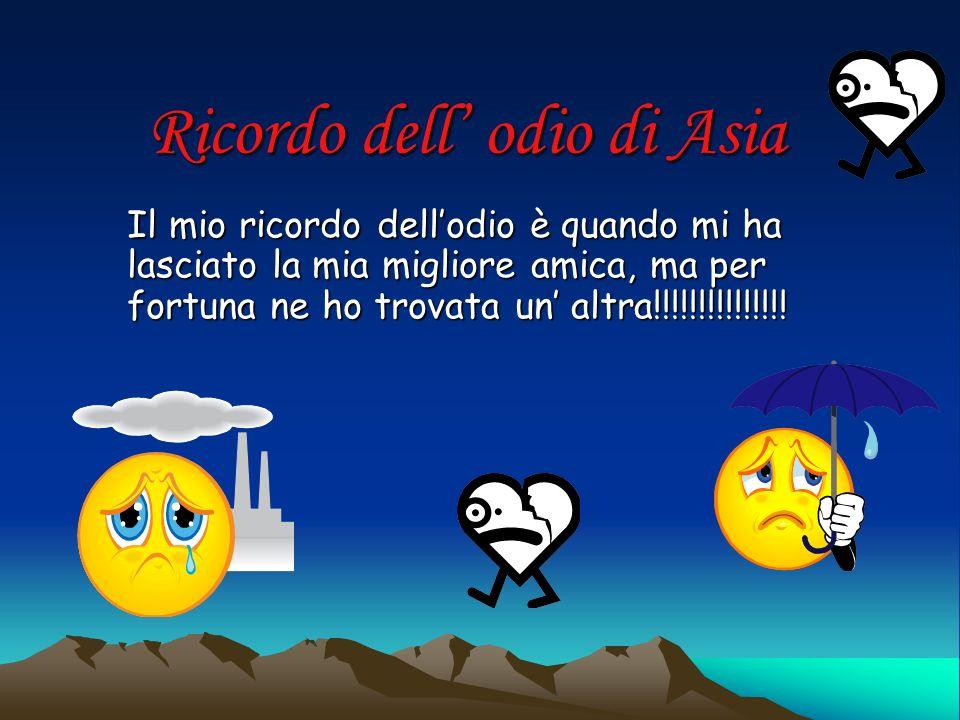 Ricordo dell odio di Asia Il mio ricordo dellodio è quando mi ha lasciato la mia migliore amica, ma per fortuna ne ho trovata un altra!!!!!!!!!!!!!!!