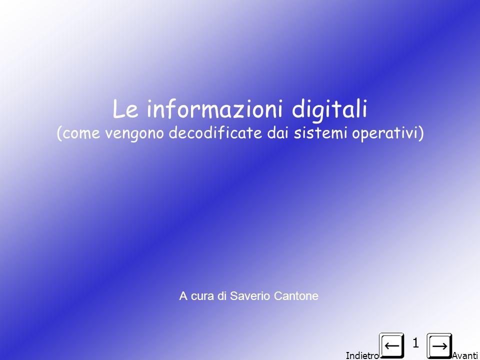 Indietro Avanti 2 Le informazioni digitali Dunque un file digitale è composto di DIGIT (digit=cifra) e le cifre di cui è composto sono solo 0 e 1 in quanto un computer è in grado di distinguere solo i due possibili stati logici on e off.
