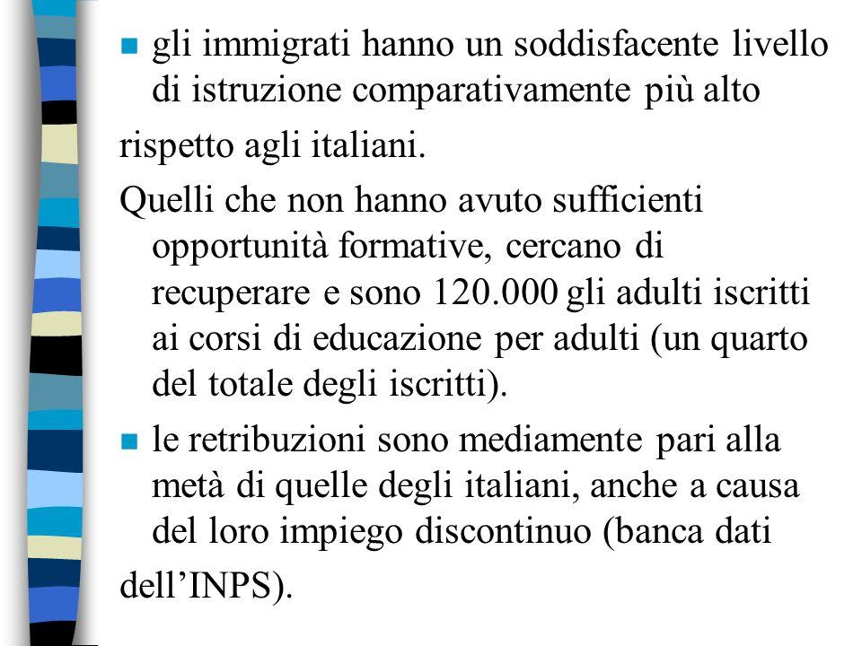 n estrema mobilità : circa la metà dei lavoratori immigrati deve rinnovare annualmente il contratto di lavoro (tra gli italiani solo 1 su 4). n Le ass