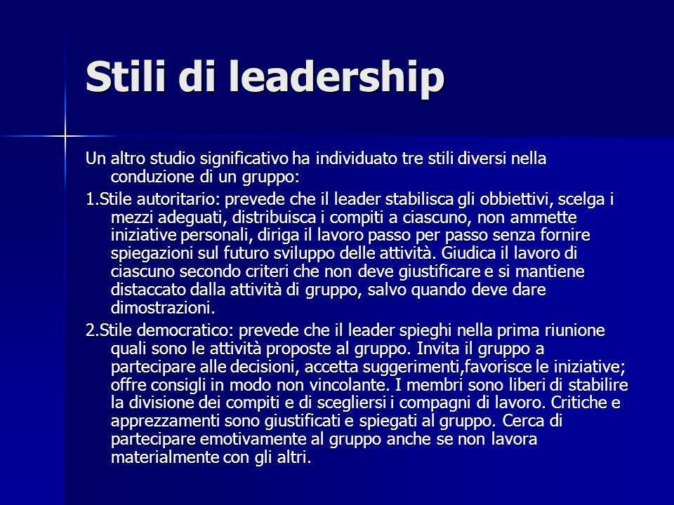 Stili di leadership Un altro studio significativo ha individuato tre stili diversi nella conduzione di un gruppo: 1.Stile autoritario: prevede che il