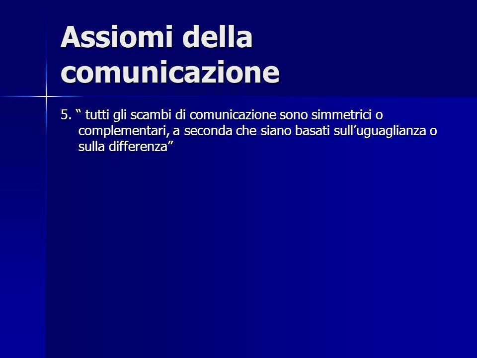 Assiomi della comunicazione 5. tutti gli scambi di comunicazione sono simmetrici o complementari, a seconda che siano basati sulluguaglianza o sulla d