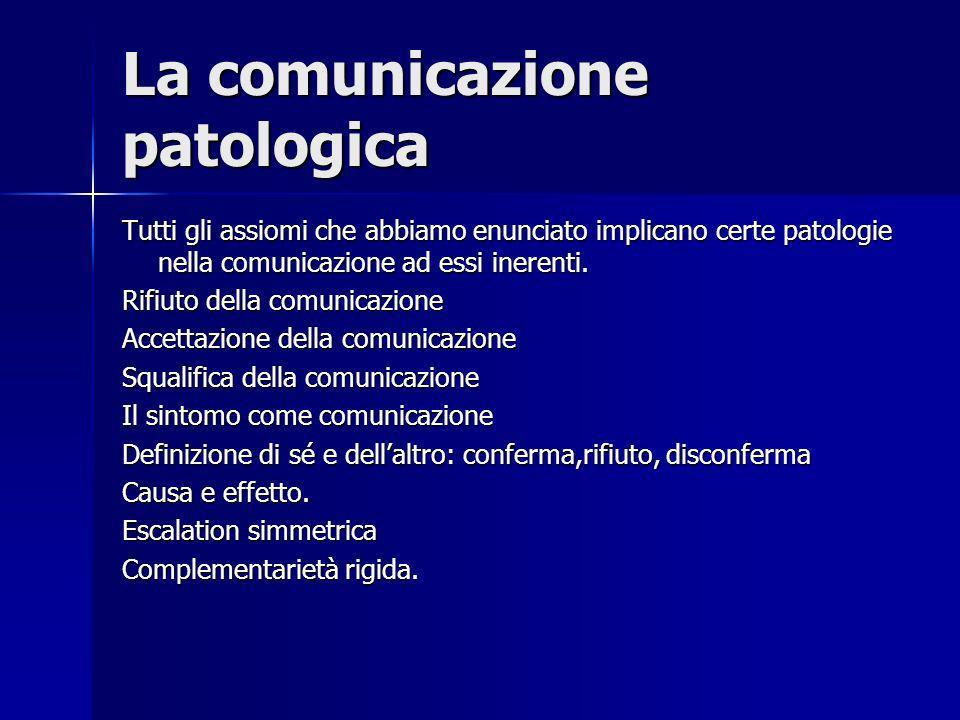 La comunicazione patologica Tutti gli assiomi che abbiamo enunciato implicano certe patologie nella comunicazione ad essi inerenti. Rifiuto della comu