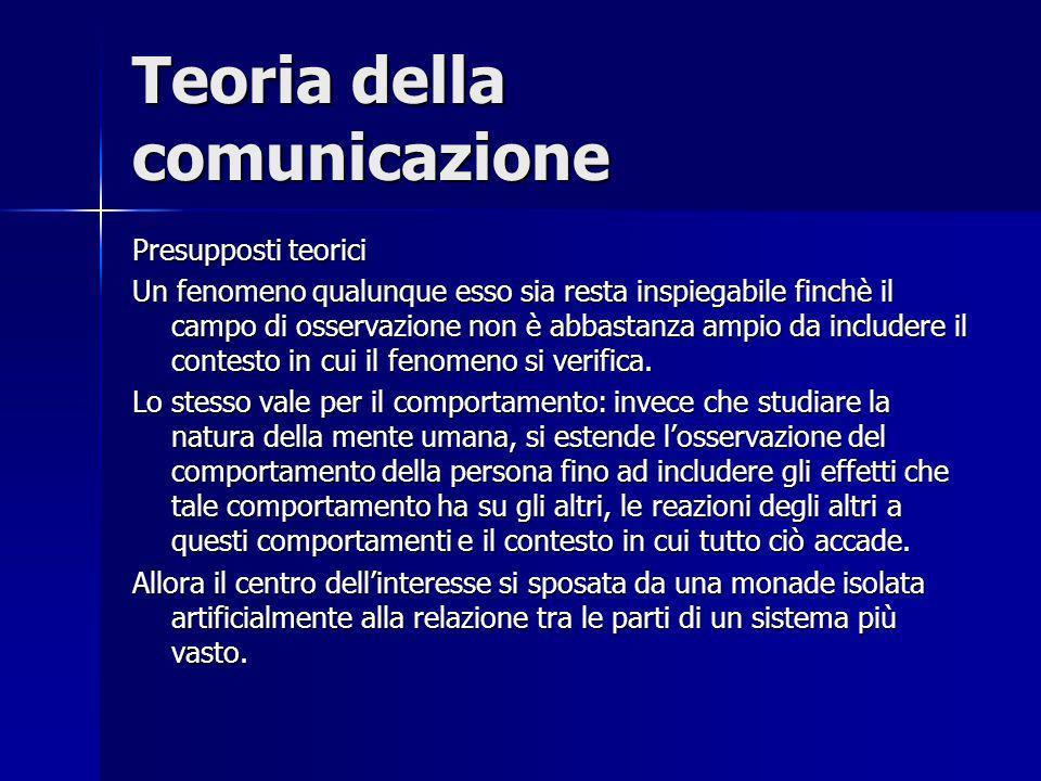 Teoria della comunicazione Presupposti teorici Un fenomeno qualunque esso sia resta inspiegabile finchè il campo di osservazione non è abbastanza ampi