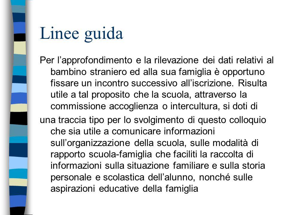 Linee guida Per lapprofondimento e la rilevazione dei dati relativi al bambino straniero ed alla sua famiglia è opportuno fissare un incontro successivo alliscrizione.