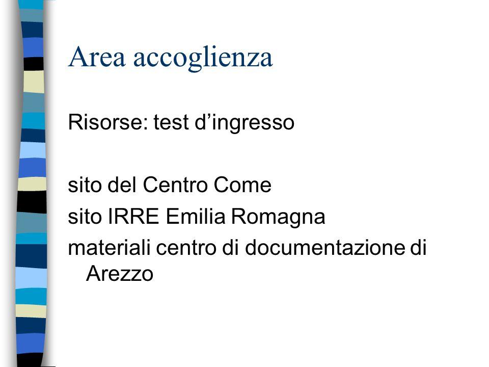Area accoglienza Risorse: test dingresso sito del Centro Come sito IRRE Emilia Romagna materiali centro di documentazione di Arezzo