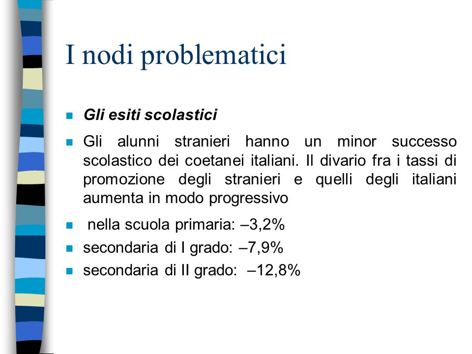 I nodi problematici n Gli esiti scolastici n Gli alunni stranieri hanno un minor successo scolastico dei coetanei italiani.