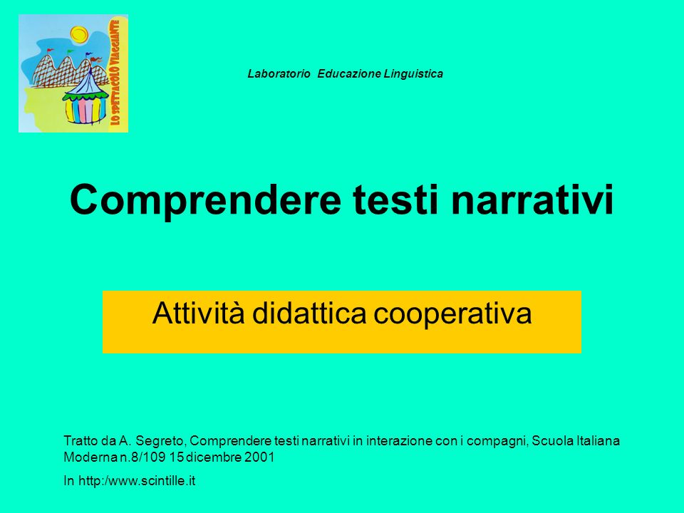 Comprendere testi narrativi Attività didattica cooperativa Tratto da A. Segreto, Comprendere testi narrativi in interazione con i compagni, Scuola Ita
