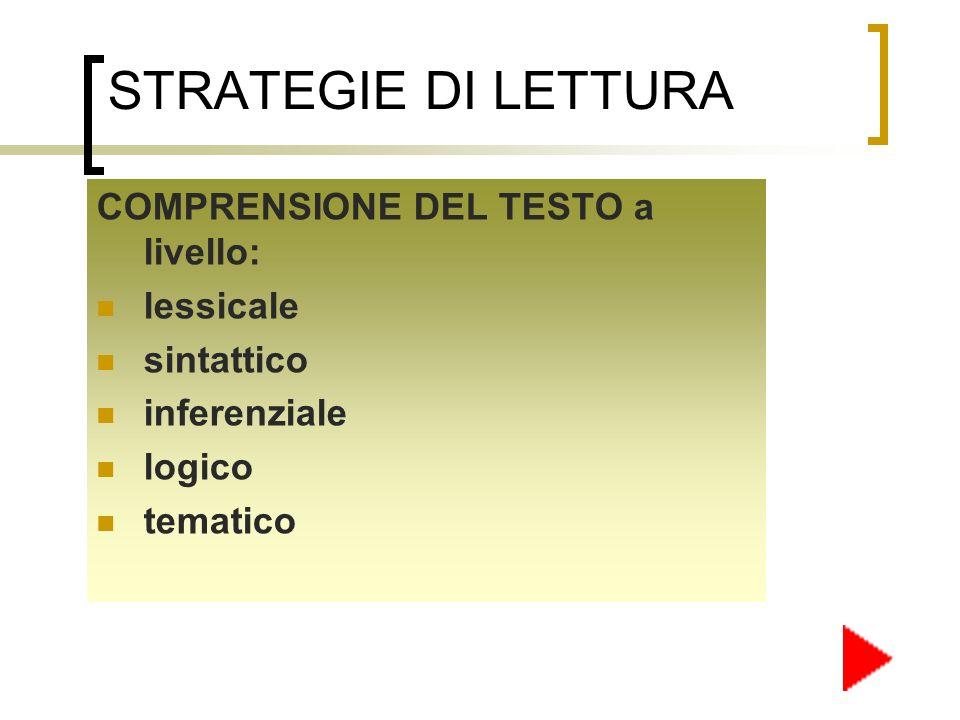 INTERPRETAZIONE DEL TESTO: relazionare il testo ai vari fattori del contesto.