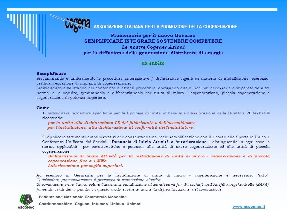 Federazione Nazionale Commercio Macchine Cantiermacchine Cogena Intemac Unicea Unimot ASSOCIAZIONE ITALIANA PER LA PROMOZIONE DELLA COGENERAZIONE www.ascomac.it Promemoria per il nuovo Governo SEMPLIFICARE INTEGRARE SOSTENERE COMPETERE Le nostre Cogener Azioni per la diffusione della generazione distribuita di energia 2.