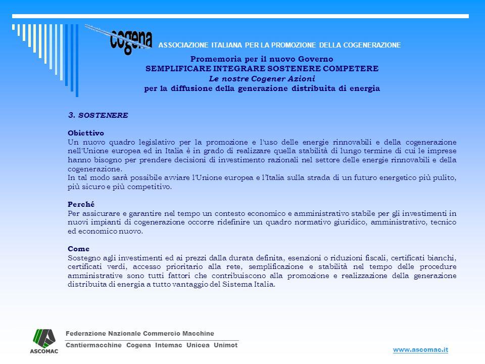 Federazione Nazionale Commercio Macchine Cantiermacchine Cogena Intemac Unicea Unimot ASSOCIAZIONE ITALIANA PER LA PROMOZIONE DELLA COGENERAZIONE www.ascomac.it Promemoria per il nuovo Governo SEMPLIFICARE INTEGRARE SOSTENERE COMPETERE Le nostre Cogener Azioni per la diffusione della generazione distribuita di energia 4.