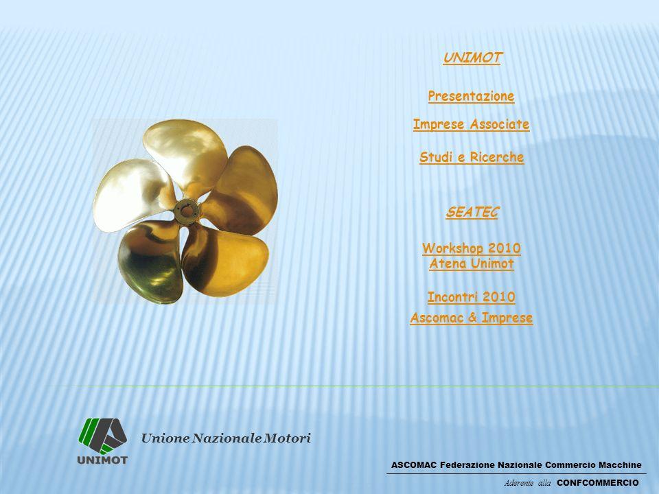 Unione Nazionale Motori ASCOMAC Federazione Nazionale Commercio Macchine Aderente alla CONFCOMMERCIO UNIMOT Presentazione Imprese Associate Studi e Ricerche SEATEC Workshop 2010 Atena Unimot Incontri 2010 Ascomac & Imprese