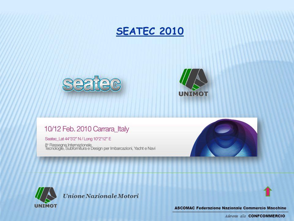 Unione Nazionale Motori ASCOMAC Federazione Nazionale Commercio Macchine Aderente alla CONFCOMMERCIO SEATEC 2010 Imprese partecipanti