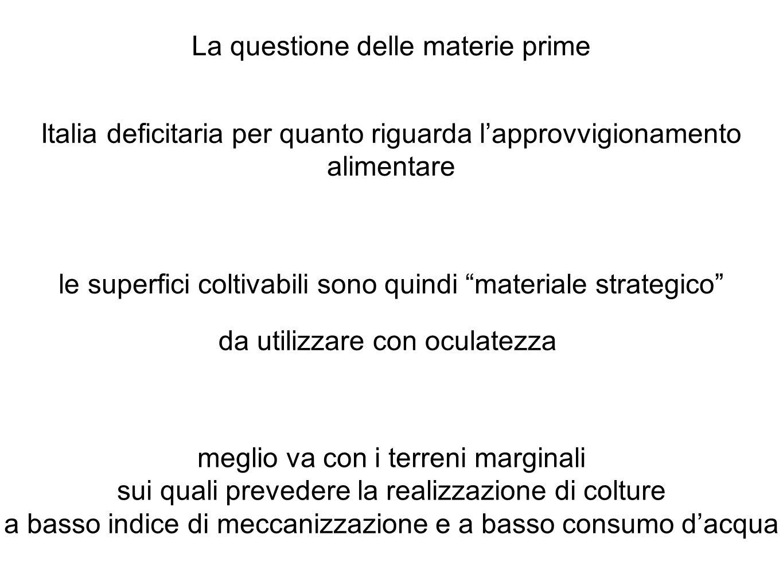 La questione delle materie prime Italia deficitaria per quanto riguarda lapprovvigionamento alimentare le superfici coltivabili sono quindi materiale strategico da utilizzare con oculatezza meglio va con i terreni marginali sui quali prevedere la realizzazione di colture a basso indice di meccanizzazione e a basso consumo dacqua