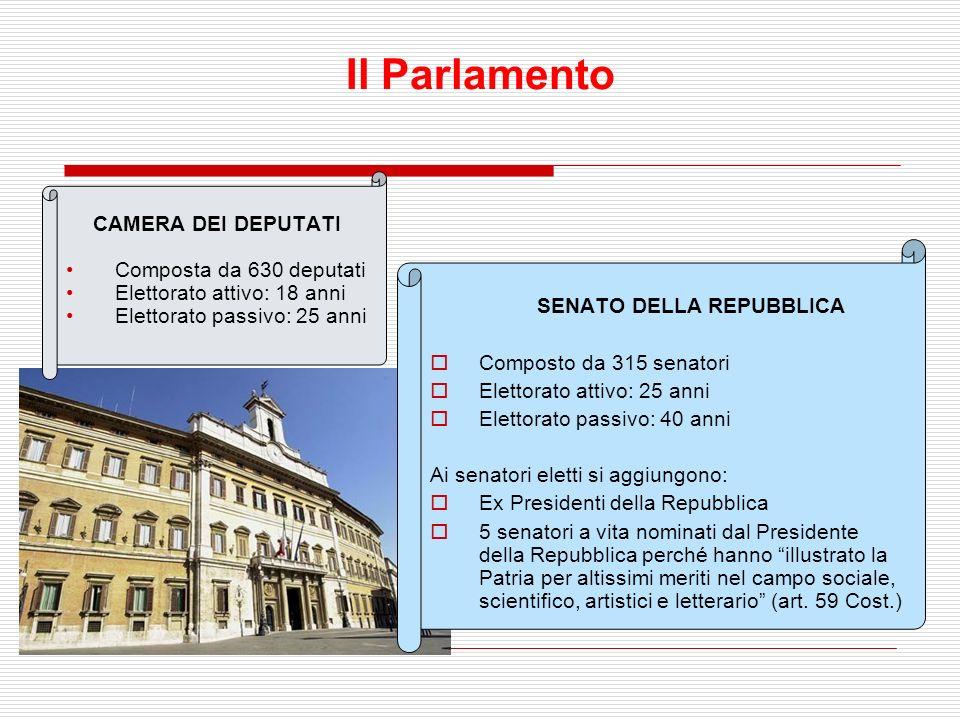 Il parlamento e la formazione delle leggi Il parlamento esprime la sovranità nazionale. E dotato di potere legislativo E composto da due camere: dei d